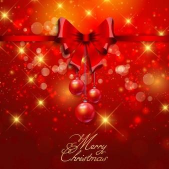 Rode kerstkaart met lus en snuisterijen