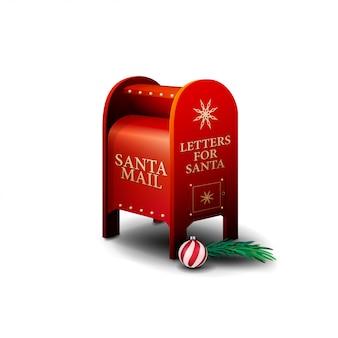 Rode kerstmanbrievenbus die op witte achtergrond wordt geïsoleerd