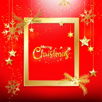 Rode kerstmis achtergrond met goud glitter confetti decoratie met gouden frame