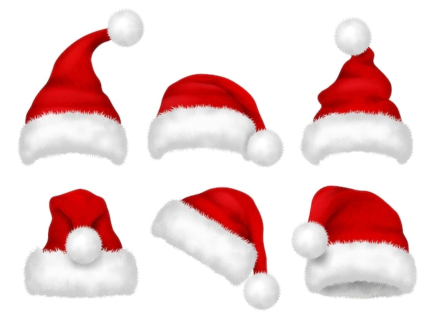 Rode kerstmuts. partij bont kerst traditionele fluwelen hoed vector realistische afbeeldingen. cap kerst, hoed kerstman, kostuum tot kerstvakantie illustratie
