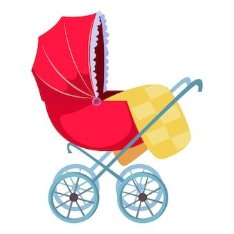 Rode kinderwagen. leuke tekening. vectorillustratie in cartoon-stijl leuk