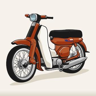 Rode klassieke vintage duck motorfiets