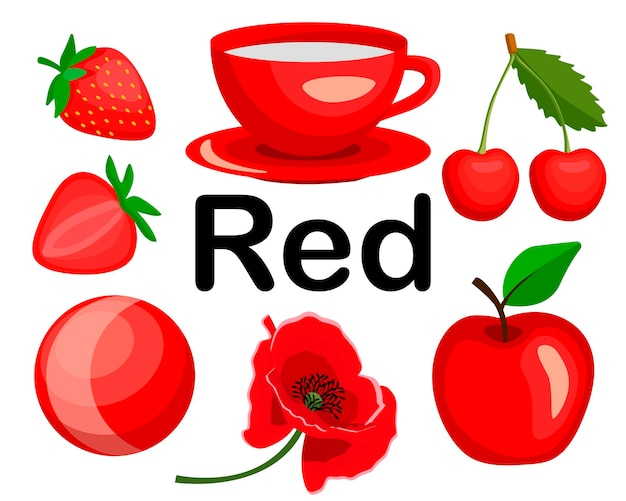 Rode kleur. objecten van rode kleur. de set bevat aardbeien, kersen, een kopje, een bal, een papaverbloem, een appel.