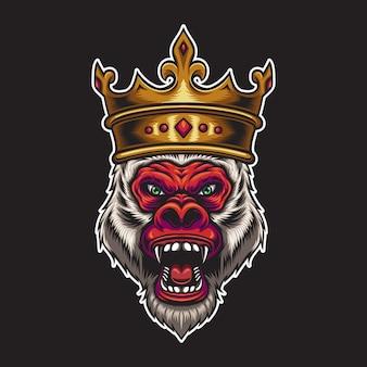 Rode koning kong hoofd illustratie