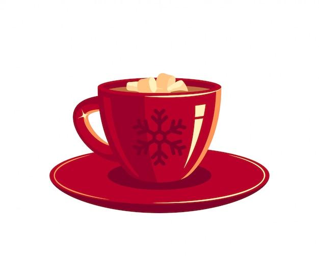 Rode kop koffie of chocolade met marshmallows, afbeelding Premium Vector