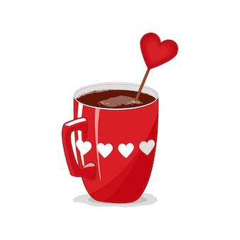Rode kop met harten.