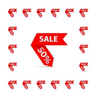 Rode kortingslinten die met verkoopwoord worden geplaatst.