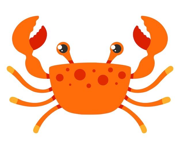 Rode krab op een witte achtergrond. platte karakter vectorillustratie