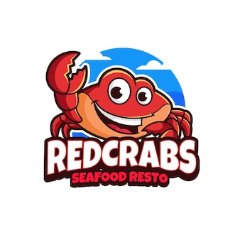 Rode krabben mascotte logo ontwerp