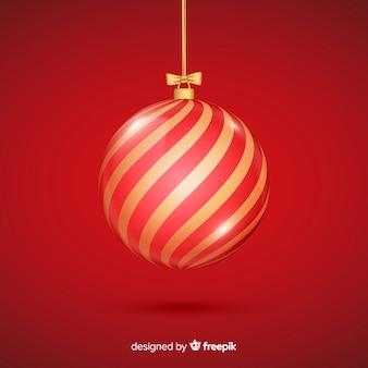 Rode kristallen kerstbal met verloop