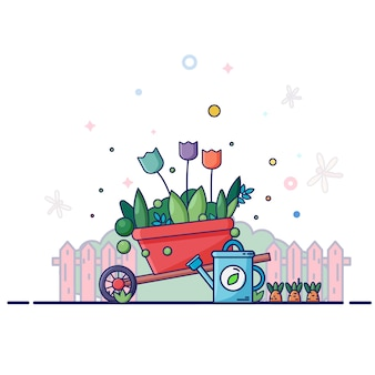 Rode kruiwagen met blauwe gieter. rond hek, planten, bloemen, zomer, libellen.