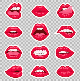 Rode kussen en glimlachen cartoon lippen geïsoleerde decoratieve pictogrammen voor partijpresentatie. de vlakke lippen van de sexy vrouw die verschillende emoties uitdrukken