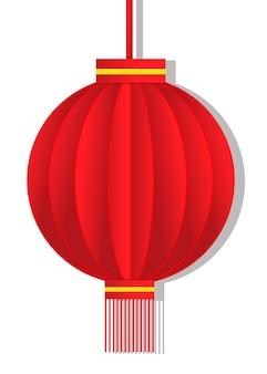 Rode lantaarn papier gesneden ontwerp op witte achtergrond.