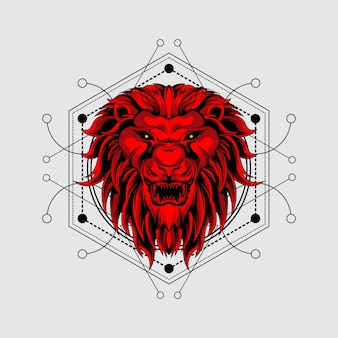 Rode leeuw met heilige geometrie