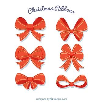 Rode linten set voor kerstmis