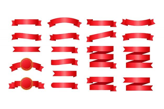 Rode lintenbanners. set van linten. illustratie.