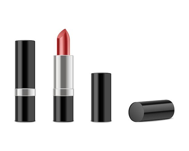 Rode lippenstift die op wit wordt geïsoleerd