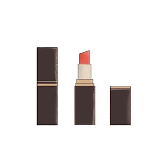 Rode lippenstift hand getekende illustratie.