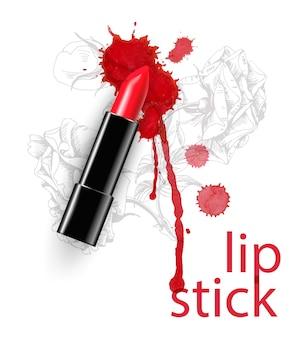 Rode lippenstift met mooie uitstrijkjes en druppels schoonheid en cosmetica achtergrond vector