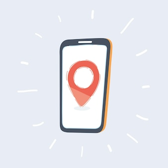 Rode locatiespeld op telefoonscherm