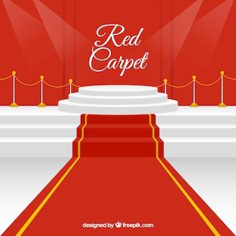 Rode loper achtergrond in vlakke stijl