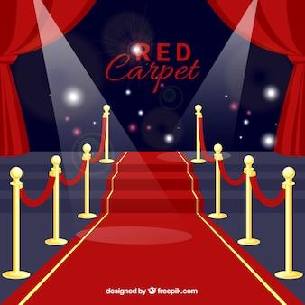 Rode loper ceremonie achtergrond in vlakke stijl