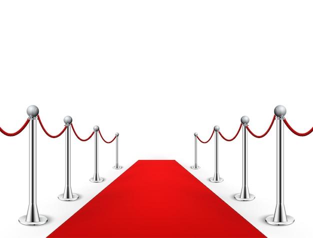 Rode loper evenement met zilveren barrières illustratie