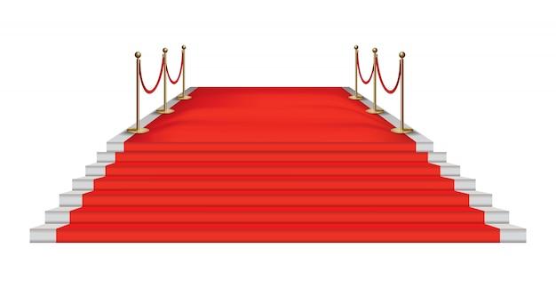 Rode loper gouden barrières. exclusief evenement.
