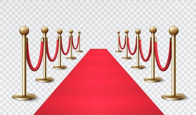 Rode loper met een gouden barrière voor vip-evenementen en feesten.