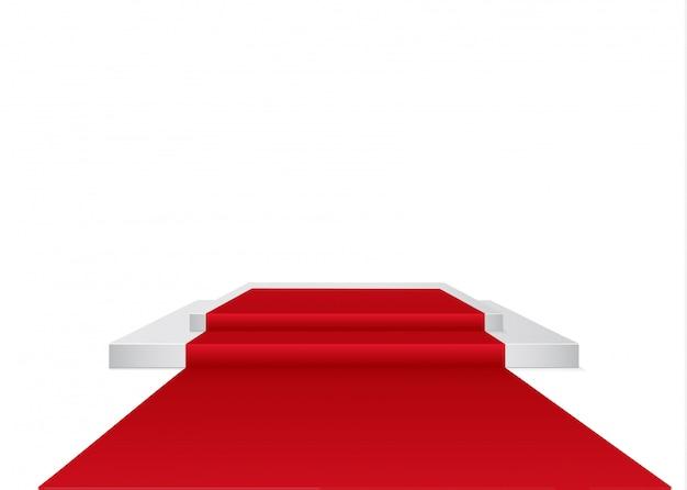 Rode loper op een cirkelvormig podium. het podium van winnaars. illustratie.