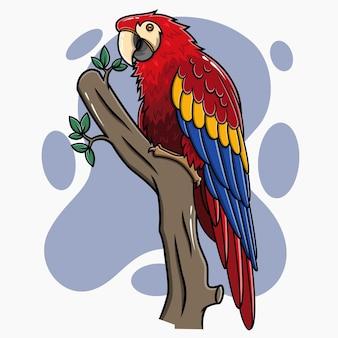 Rode macaw cartoon karakter hand getrokken