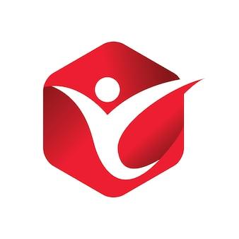 Rode mensen geven vector logo sjabloon