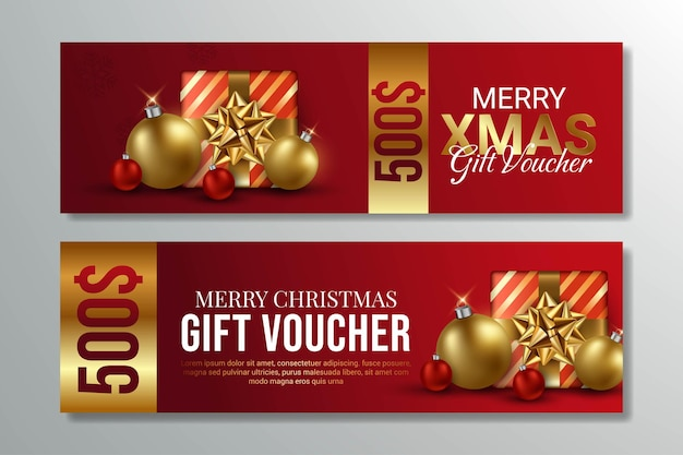 Rode merry christmas gift voucher ontwerp illustratie
