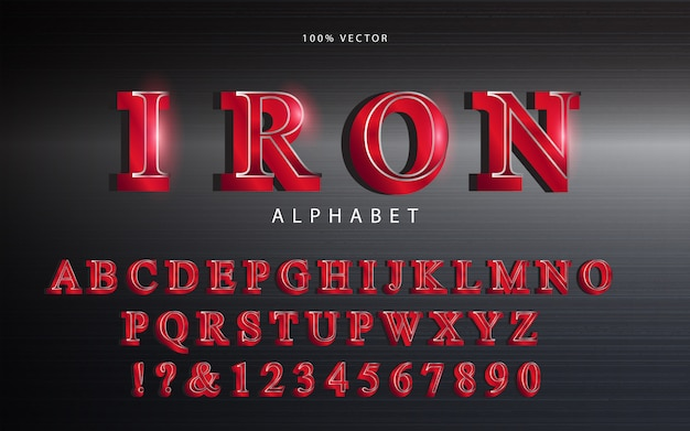 Rode metalen alfabet lettertype