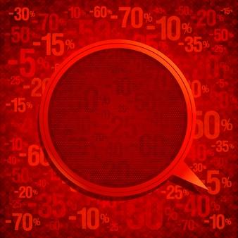 Rode mode tekstballon tegen rode achtergrond met procenten lege ruimte mockup