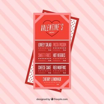 Rode moderne valentijnskaart menu ontwerp