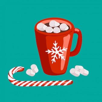 Rode mok met cacao en marshmallows