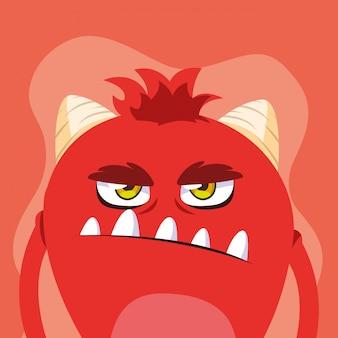 Rode monster cartoon