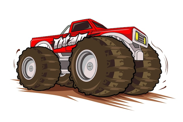 Rode monstertruck Premium Vector