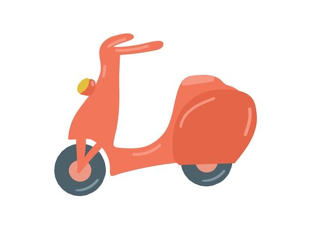 Rode motor scooter geïsoleerde retro bromfiets hand getekende cartoon stijl vectorillustratie