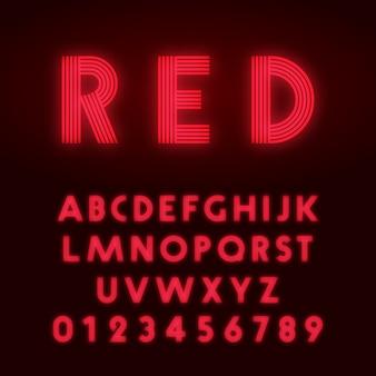 Rode neon alfabet lettertype