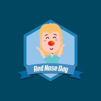 Rode neus dag embleem met cartoon gelukkig meisje