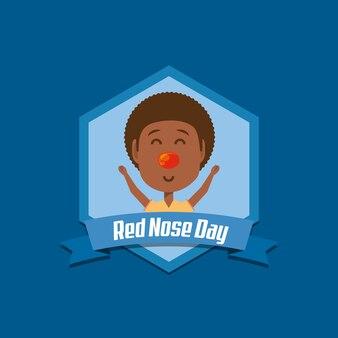 Rode neus dag embleem met cartoon gelukkige jongen