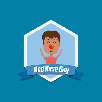 Rode neus dag embleem met cartoon jongen