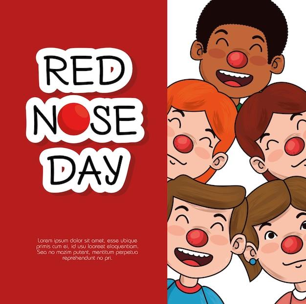 Rode neus dag kinderen met rode neus Premium Vector