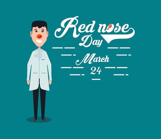 Rode neus dag ontwerp met cartoon arts