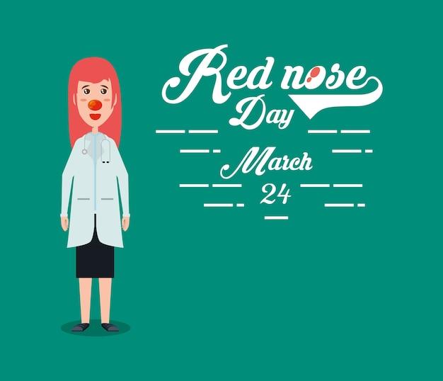 Rode neus dag ontwerp met cartoon vrouw arts