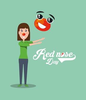 Rode neus dag ontwerp met cartoon vrouw spelen