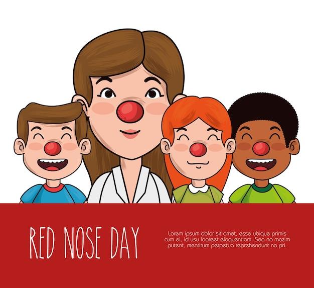 Rode neus dagmensen met rode neus