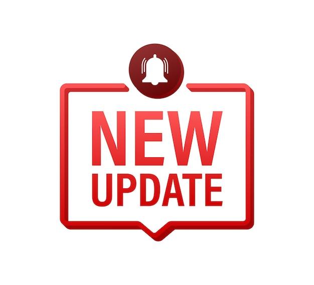 Rode nieuwe updatebanner in moderne stijl. webdesign. vector voorraad illustratie.